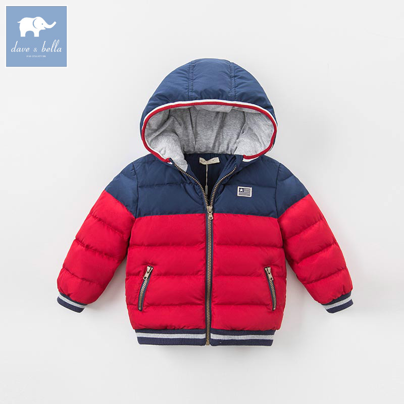 DK0819 dave bella winter baby boys down jacket children white duck down padded coat kids hooded outerwear цена