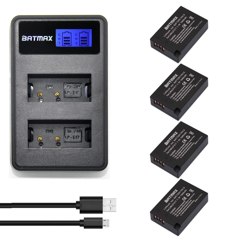 Prix pour LP-E17 LPE17 LP E17 4-Pack Appareil Photo Numérique Batterie + un Écran lcd USB Chargeur de batterie pour Canon T6i 750D T6s 760D M3 8000D Kissx8i