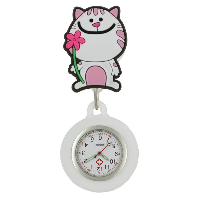 Cat lovely cartoon animal design scalable soft rubber nurse pocket watches ladies women doctor smile Medical watches