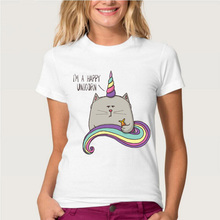 Hopuptee brand+I'm happy unicorn cat print T Shirt women's short sleeve cute tops tees(China)