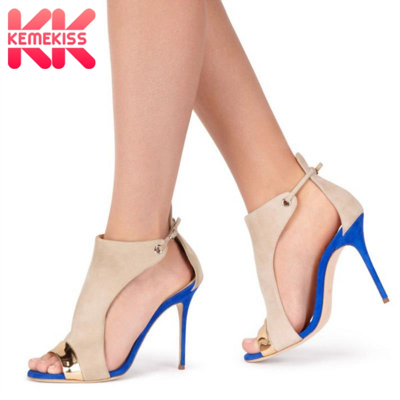 KemeKiss Size 35-45 Women High Heels Sandals Mixed Color Peep Toe Buckle Fashion Women Summer Shoes Party Wedding Shoes WomanKemeKiss Size 35-45 Women High Heels Sandals Mixed Color Peep Toe Buckle Fashion Women Summer Shoes Party Wedding Shoes Woman