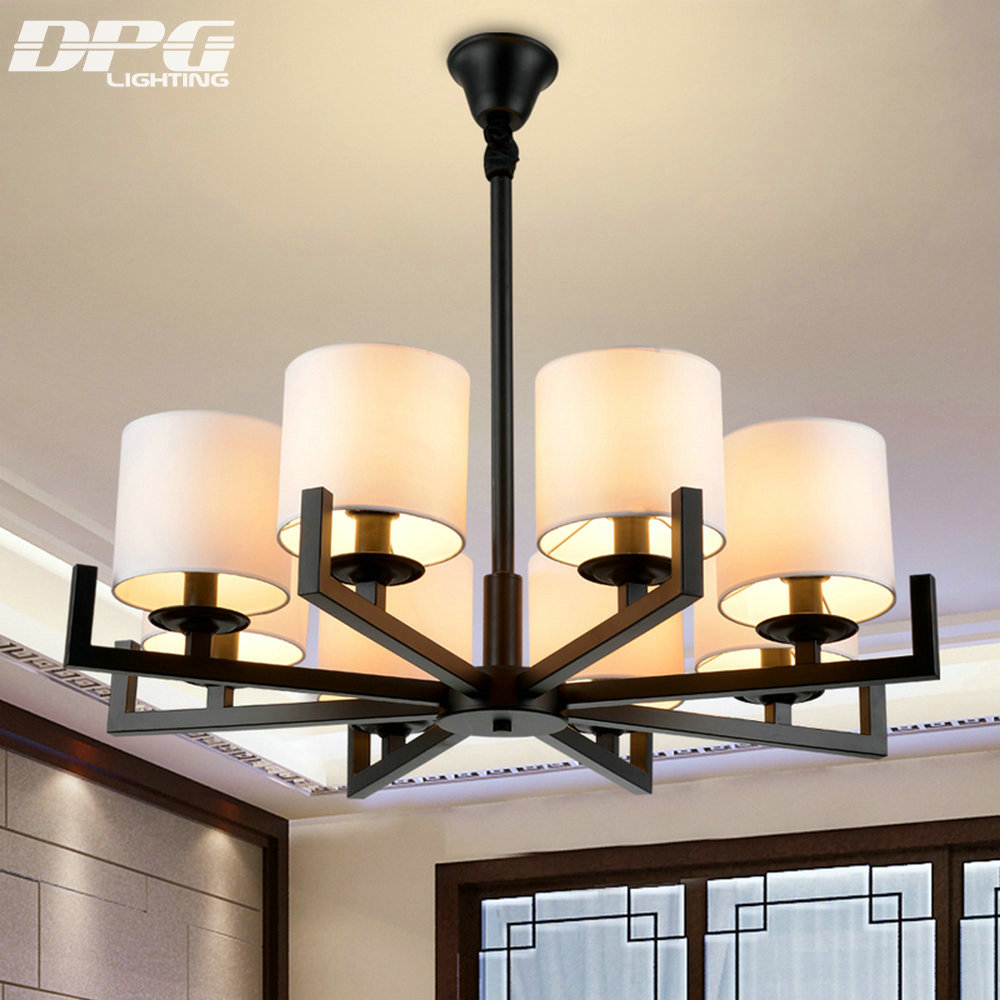 Ceiling Lamp Shades For Living Room: Fabric Shade Iron Chandelier Lighting Fixtures Luminaria
