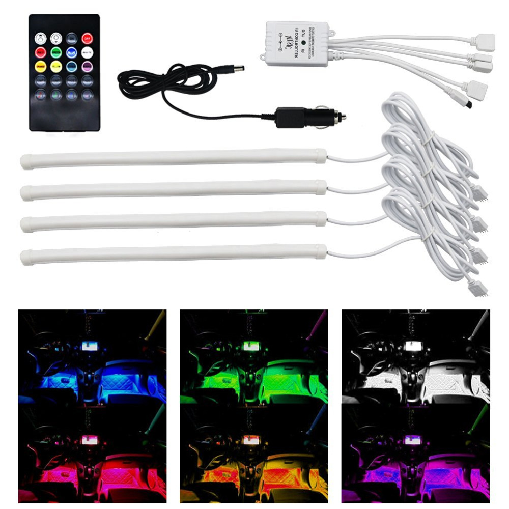 4pcs 12 inch multi color 7 color music led car interior underdash lighting kit sound activated. Black Bedroom Furniture Sets. Home Design Ideas