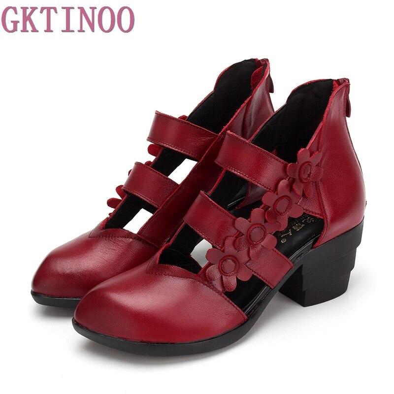 GKTINOO 2019 สไตล์ชาติพันธุ์ของผู้หญิงรองเท้าแตะรองเท้าแตะส้นปิดนิ้วเท้าฤดูร้อนทำด้วยมือนุ่ม Outsole รองเท้าผู้หญิง-ใน รองเท้าส้นสูง จาก รองเท้า บน   2