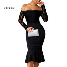 Echoine Women Bodycon Sexy Dress Slash Neck Lace Long Sleeve Hollow Out Off The Shoulder Sheath Fishtail Charming Evening Outfit