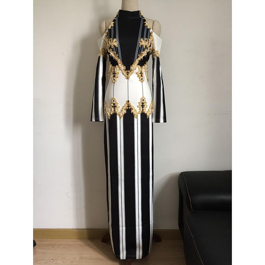 ВИСОКО КАЧЕСТВО Най-новата мода 2018 BAROCCO Пътеката облекло за жени Изложение на раменете Луксозна ръчна работа Перлена Бисеринг Дълга рокля
