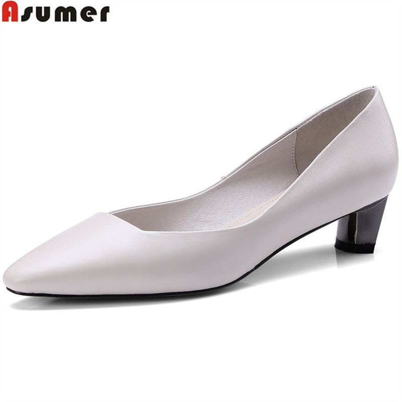 ASUMER black beige 2018 fashion spring autumn shoes woman pointed toe shallow solid color women genuine leather med heels shoes asumer black red fashion spring autumn flat shoes woman pointed toe casual single shoes big size 33 43 women flats