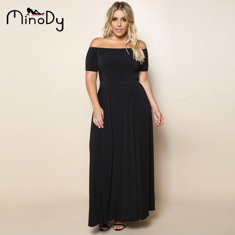 e572ce87a5d6 Minody Women Plus Size Off Shoulder Dress Spring Summer Sexy Black Blue  Solid Slash Neck Party Floor Length Dresses BEFX170152-in Dresses from  Women's ...