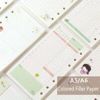 A5/A6 Mignon Creative Couleur Diario Liant Charge Papier Bureau École Papeterie Planificateur Accessoires Papier De Bourrage Pour Filofax