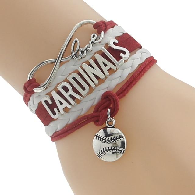 Drop Shipping Infinity Love St Louis Cardinals Bracelet Baseball Handmade Leather Braided Sports Friendship