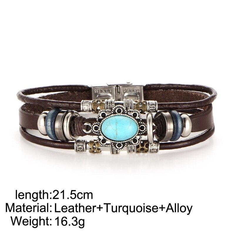 Femmes Cuir Cadeau Vintage Hommes Âge Bijoux Multicouche Ay Cyan Bracelet Pour Pierre Marron Fleur En Tibet Bracelets hQxsrdCt