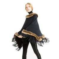 Women Tassel Knitted Shawl Cape Poncho Scarf Pullovers Warmers Women Faux Fur Collar Scarves