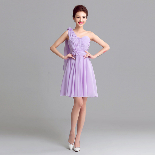 25e9feb5b2e lavender short country one shoulder chiffon sexy bridesmaid dress  bridesmaids party dresses for wedding under 100 S2714