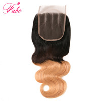Fabc Hair Ombre Brazilian Body Wave Closure T1b 4 27 Blonde Three Part 4x4 Ombre 3