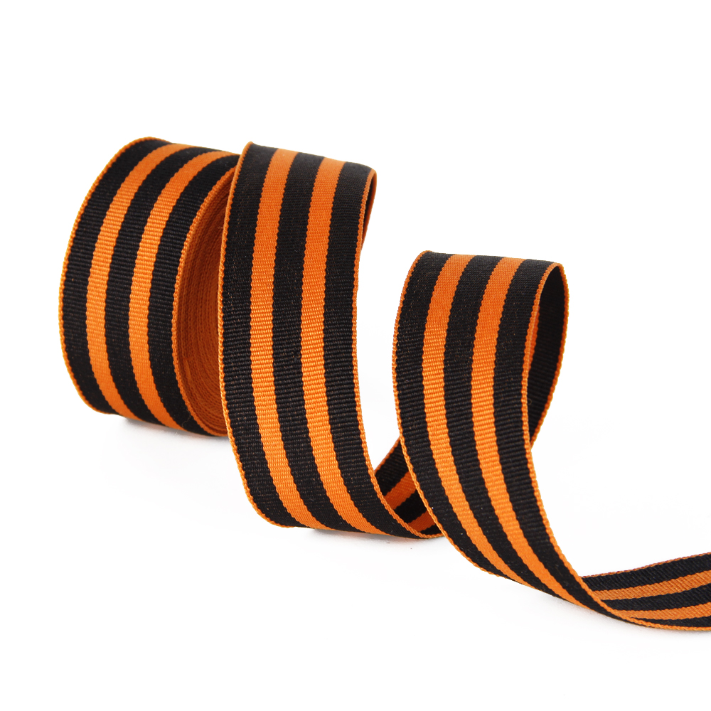 David angie 1 «(25 мм) полосатая лента двухсторонняя оранжевая и черная полоса Grosgrain лента 5Y, DIY праздник украшения ремесла, 5Y42574