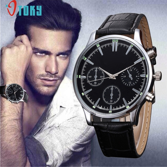 OTOKY DropShip Fashion Mens Unisex Watch Faux Leather Stainless Big Dial Round C