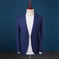 Top quality uomini blazer moda 2017 slim fit casual suit jacket gli uomini d'affari formale usura mens partito vestiti interi eleganti smoking blu hot