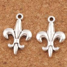 Cute Iris Fleur-de-lis Flower Charms Pendants 12.5x18.7mm 60pcs Antique Silver Jewelry DIY L387