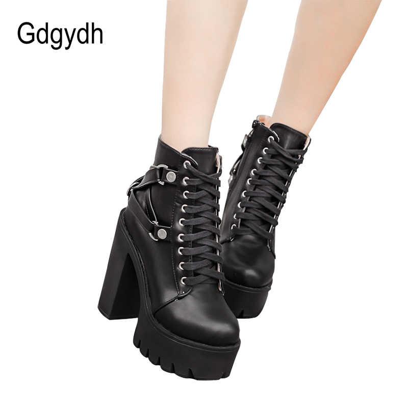 Gdgydh Moda siyah çizmeler Kadın Topuk Bahar Sonbahar Dantel up Yumuşak Deri platform ayakkabılar Kadın Parti yarım çizmeler Yüksek Topuklu