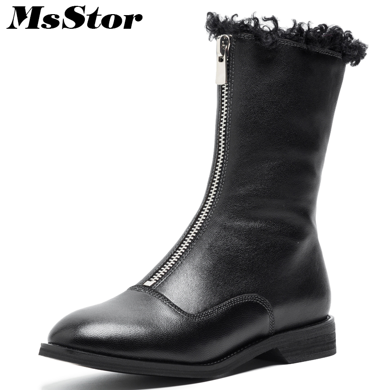 MsStor Round Toe Low heel Women Boots 2018 Fashion Zipper Rabbit Fur Ankle Boots Women Winter Shoes Wool Boot Shoes For Woman 2019 white women ankle boots lace rabbit fur cuff beadings lolita sweet low heel winter fall shoes lady student female boots