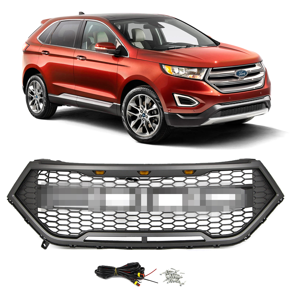 Front Bumper Grille for Ford Edge 2015 2016 2017 2018 Gray Grill Raptor Style Honeycomb Mesh