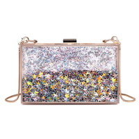2018 New Arrival Creative Acrylic Female Bag Woman Bags Waterproof Chain Hard Shoulder Bags Transparent Glittered