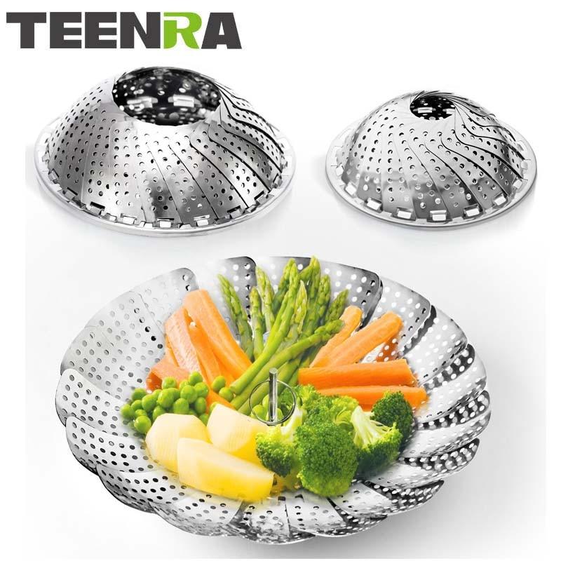 TEENRA 1Pcs 9/10.5 Inch Stainless Steel Folding Vegetable Steamer Basket Collapsible Food Steamer Pot Bowl Fruit Basket Cookware