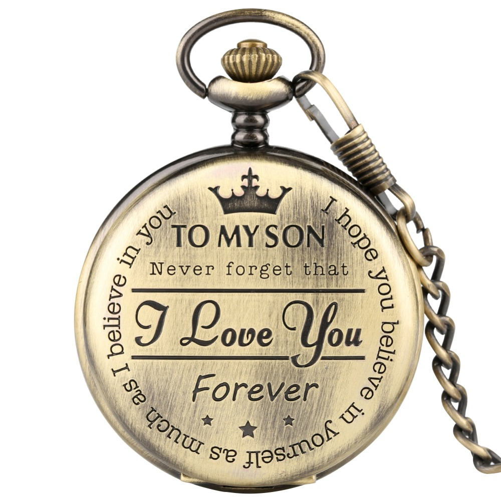 Bronze Customized To My Son Quartz Pocket Watch Vintage Roman Numeral Display Pendant Clock Birthday Gifts For Boys Dropshipping