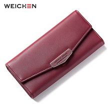 WEICHEN Geometric Envelope Women Clutch Long Wallets Many Departments Cell Phone Pocket Card Holder Ladies Wallet Female Purse недорого