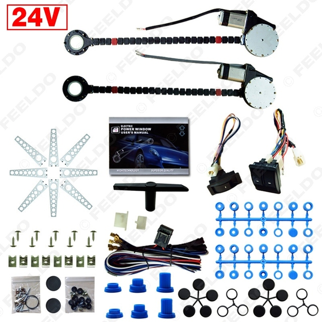 DC24V Universal Car/Truck 2-Doors Electric Power Window Kits 3pcs/Set Switches and Harness #FD-4422