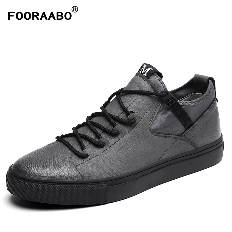 2018 Men's Leather Casual Shoes Classic Fashion Male Lace up Flats Black Men Krasovki Flat Heel Sneakers tenis masculin valstone 2018 men leather casual shoes hip hop gold fashion sneakers silver microfiber high tops male vulcanized shoes sizes 46
