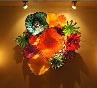 الحرف اليدوية الزهور في العنقودية جدار الفن نمط ديكور المنزل 100% اليد في مهب مورانو الزجاج الجدار لوحات-في مصابيح الحائط من مصابيح وإضاءات على