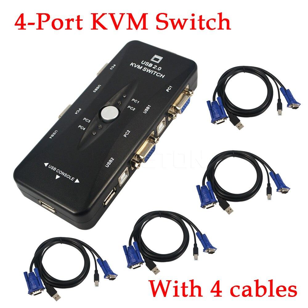 Kvm-switches Computer & Büro RüCksichtsvoll 1 Satz 4 Kvm Schalter Kabel Hub 4 Port Usb 2.0 Kvm Vga/svga Switch Box Adapter Verbindet Drucker Tastatur Maus 4 Computer