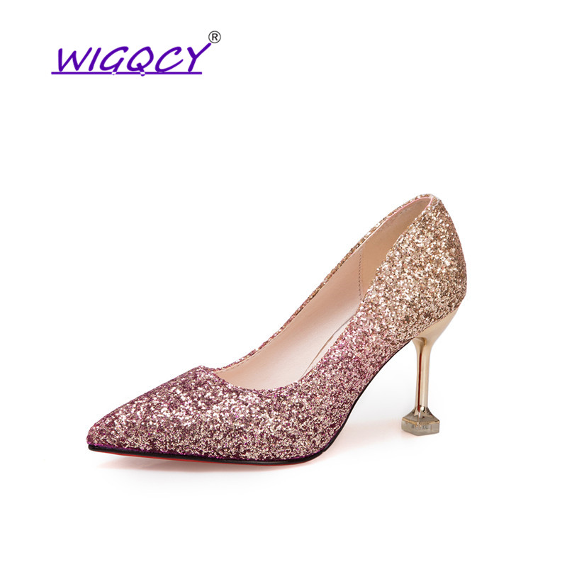 Pointed Toe Sequined Cloth Thin Heels High heel Wedding pumps women shoes 2019 Spring Autumn Fashion Shallow Bling female shoes 2