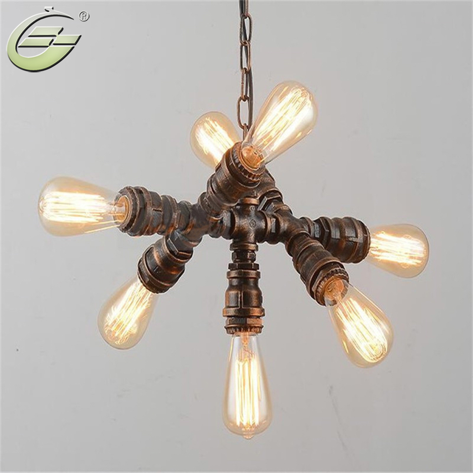 Industrial style rustic pendant lamp water pipe pendant lights fixtures with 7 lights art decoration lighting in pendant lights from lights lighting on