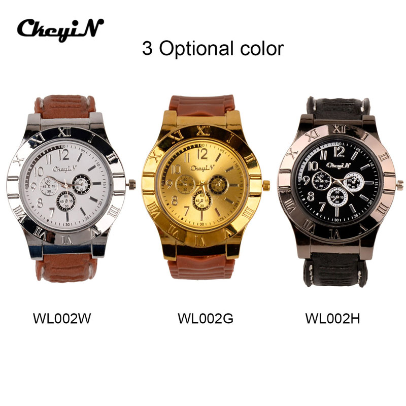 Fashion GIFT Casual watches Quartz Watches Men Wristwatches+USB Electronic Rechargeable Windproof Flameless Cigarette Lighter 50