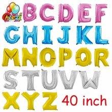 40 дюйм(ов) цвета: золотистый, серебристый, розовый, синий воздушные шары с буквой для дня рождения баннер для свадебного оформления поставки большой Гелиевый шар