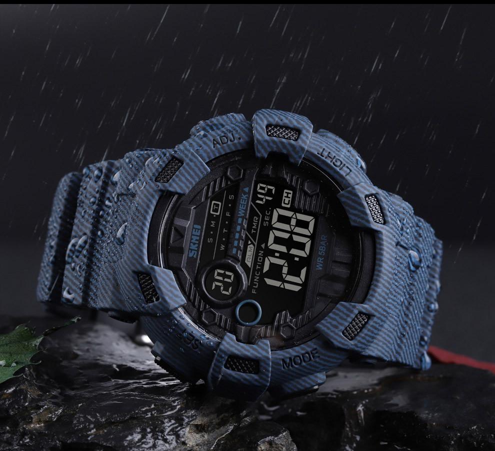 SKMEI Fashion Digital Watch For Men (Alarm, Waterproof, Week Display, Denim Look)