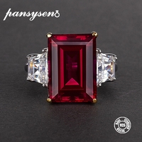 PANSYSEN 100% 925 Silver Jewelry Natural Ruby Gemstone Jewelry Rings Women's Fashion Finger Ring Party Engagement Gift Size 4 12