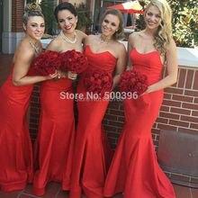 Cheap Satin Bridesmaid Dress Mermaid Red Wedding Party Dress 2016 Prom Gown  festas longo casamento  gown demoiselle dhonneur