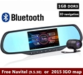 "5.0""Touch Dual Cam Car DVRS with 1GB RAM 8GB ROM WiFi FM GPS Navigation Bluetooth Car Kits Car Mirror Android Cameras"