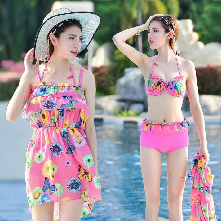 2017 direct selling girl lovely fresh collar small chest skirt gathered three sets of split swimming suit for wom tramp rock 4