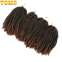TOMO 8Inch 30Strands Spring Twist Crochet Braids Ombre Synthetic Braiding Bomb Twist Hair Extension For Fluffy Twist(China)