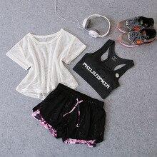 Spring-Summer Yoga Three-Piece Female Fitness Set Running Sheath Short Shorts Fake Two Piece Womens Pants instagram ot sale