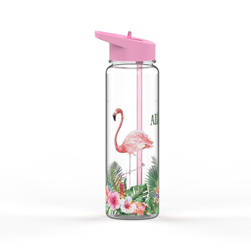 Bpa Free 750ml 100%Tritan Sports Outdoor Straw Water Bottle With Flamingos Printing My Drink Juice Handle The Unicorn Kettle