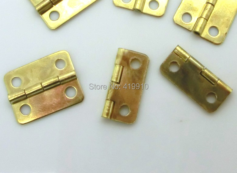 Free Shipping-50pcs Gold Plated Hardware 4 Holes DIY Box Butt Door Hinges (Not Including Screws) 16x13mm J1261
