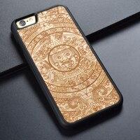 Carving Retro Original Unique Design TPU PC Maple Wood Mobile Phone Case For IPhone 6 6S