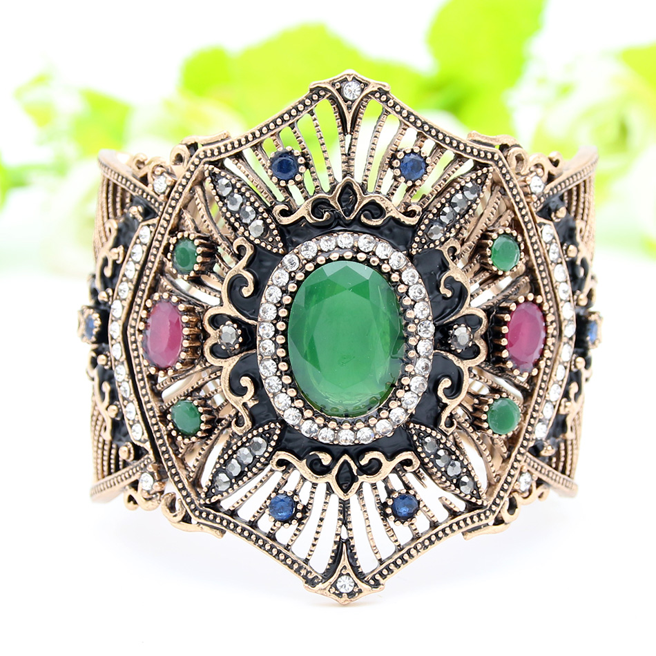 New Turkish Women Adjustable Cuff Resin Flower Bangle