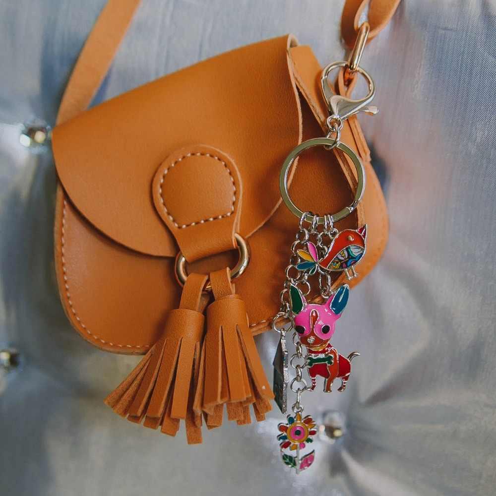 Bonsny Enamel Metal Chihuahua Hond Vogel Bloem Huis Sleutelhanger Sleutelhangers Ring Bag Charms Auto Houder Sieraden Voor Vrouwen Meisjes geschenken