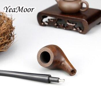 Vintage 17 Centimetri Lungo Tubo Di Fumo 3 Millimetri Filtro Ebano Tubo Di Legno 10 Strumenti Di Trasporto Piegato Tubo Di Legno Di Tabacco Da Pipa Fumo Accessorio